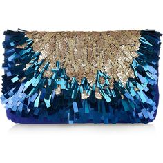 Matthew Williamson Sequined suede clutch ($275) ❤ liked on Polyvore featuring bags, handbags, clutches, purses, bolsas, accessories, matthew williamson, sequin handbags, sequin clutches and blue clutches