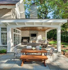 Combination of open patio and covered patio with outdoor kitchen and outd… Patio. Combination of open patio and covered patio with outdoor kitchen and outdoor fireplace. Outdoor Patio Designs, Outdoor Kitchen Design, Diy Patio, Outdoor Kitchen Patio, Kitchen Rustic, Kitchen White, Outdoor Rooms, Outdoor Decor, Rustic Outdoor