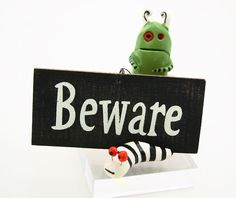 Halloween Monster Decor Miniature set of two Nightmare by LennyMud, $18.00