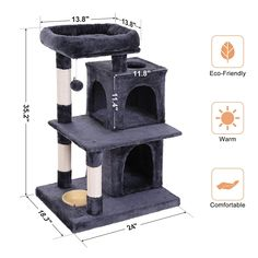 SONGMICS MultiLevel Cat Tree with Feeder Bowl SisalCovered Scratching Posts Dual Condo Activity Centre Cat Tower Furniture Smoky Grey ** You can get additional details at the image link. (This is an affiliate link) Cat Tree House, Cat House Diy, Cat Tree Condo, Cat Condo, Cat Tree Designs, Diy Cat Hammock, Cat Tree Plans, Cat Playhouse, Cat Wall Furniture