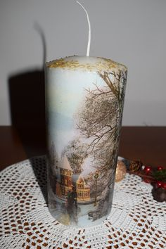 christmas candle decoupage Stella