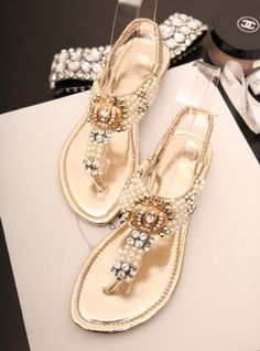 a94ace6beb74 Fashion bling diamond beaded flip flop flat sandals
