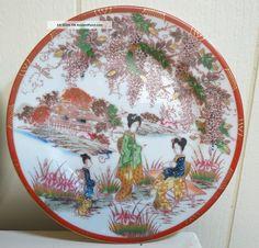 Antique Japanese Plates | Antique Japanese Porcelain Hand Painted Plates (pair) Plates photo 2 & Vintage Hand Painted Orange u0026 Blue Japanese Plates | Japanese ...