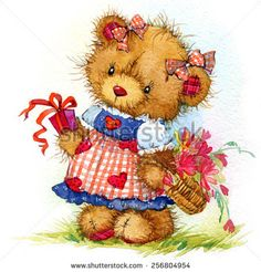 Teddy bear and flower background. watercolor