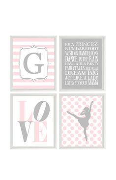 Ballet Art Print Set - Pink Gray Initial Personalize Ballerina Girl Room Girl Nursery Girl Rules - Wall Art Home Decor Set Of 4 8x10 Prints Set