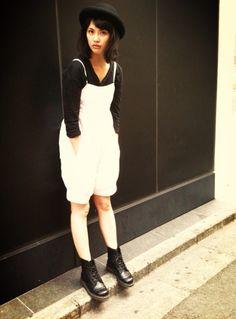 #AsamiUsuda #fashion #black #white #bob #hat #Japanese #model