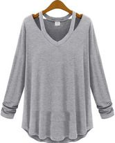 Grey V Neck Long Sleeve Hollow T-Shirt