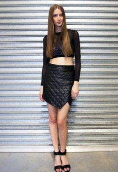 Black Quilted Asymmetrical Origami Leather Skirt - Jett