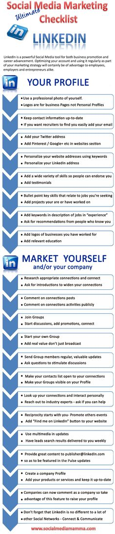 The ultimate LinkedIn check list and tips to help promote your business or find a great job www.socialmediamamma.com LinkedIn Infographic