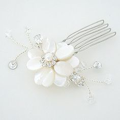 Find Laura Jaynes fabulous collection of bridal hair flowers at Perfect Details.  Feathers, organza, mother of pearl flowers. Designer hair jewelry and hair pins for the chic & stylish bride.perfect accessory for a bridesmaid!