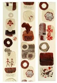 Diane Harper, Cape Town we do not choose our heritage - - a long vertical painted wood panel with ceramic pieces mounted onto it Painted Wood, Wood Paneling, Cape Town, Painting On Wood, Pottery, Clay, Culture, Ceramics, Wooden Panelling
