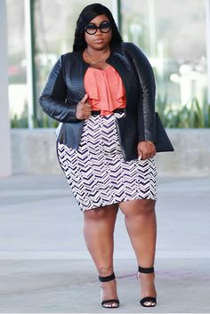 Plus Size Fashion | Lacenleopard Faux leather jacket Ruffle Top Printed Pencil Skirt