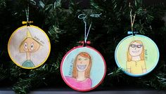 self portrait ornaments. we had the kids draw themselves and then we helped paint them. so easy and some of our most favorite ornaments!