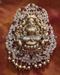 Silver Lakshmi Pendant with CZ stones - Jewellery Designs Jewelry Design Earrings, Pendant Jewelry, Jewellery Designs, Jewelry Patterns, Gold Pendent, Pendant Set, Diamond Pendant, Gold Jewelry For Sale, Silver Jewelry