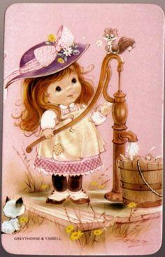vintage SWAP CARDs blank back little girl cat squirrel chipmunk Vintage Pictures, Vintage Images, Cute Pictures, Decoupage, Vintage Greeting Cards, Vintage Postcards, Postcard Paper, Baby Clip Art, Holly Hobbie