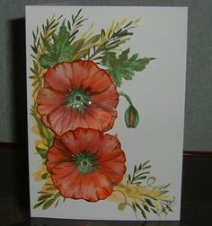 Hand Painted poppies greetings card (Ref 692) £1.50