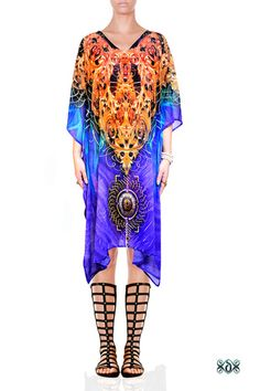 Feather Design Embellished Short Kaftan