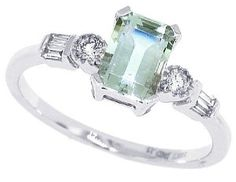 Amazon.com: 0.85ct Emerald Cut Green Amethyst Ring with Diamonds in 10Kt White Gold: Mytreasurez: Jewelry