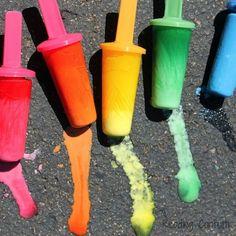 popsicle chalk. Water, paint & cornstarch frozen in regular popsicle molds.