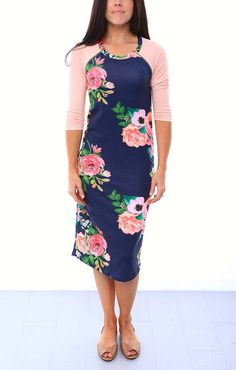 Harper and Bay Raglan Sleeve Nursing Dress - Floral Print/Peach