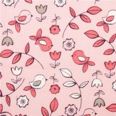 pink bird and flower fabric by Michael Miller