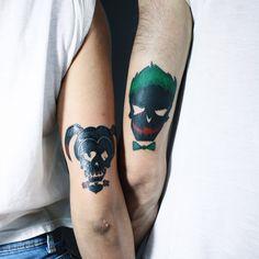 Couple Tattoo Quotes, Couple Tattoos Love, Music Tattoos, Body Art Tattoos, I Tattoo, Harley Quinn Tattoo, Joker And Harley Quinn, Queen Tattoo, Hand Tats