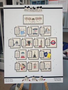 London icon themed wedding table plan in black and ivory