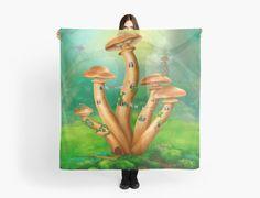 Fantasy Mushrooms honey agarics the house on a colorful meadow by Alena Lazareva