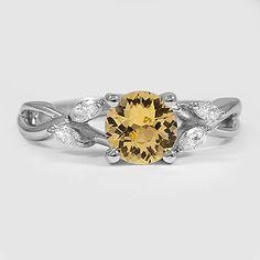18K White Gold Sapphire Willow Diamond Ring