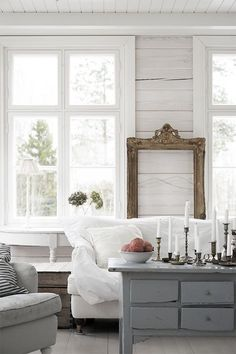 Gray and white farmhouse living room