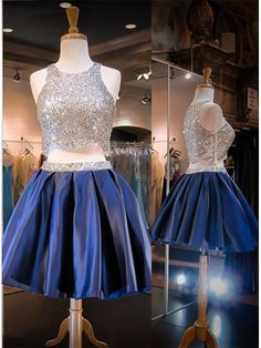 Navy Blue Homecoming Piece Homecoming Dresses,Beading Homecoming Gowns,Short Prom Gown,Sweet 16 Dress,Bling Homecoming Dress from shedresses Navy Blue Homecoming Dress, 2 Piece Homecoming Dresses, Prom Dresses Blue, Prom Gowns, Quinceanera Dresses, Evening Gowns, Dress Prom, Dress Formal, Quinceanera Ideas