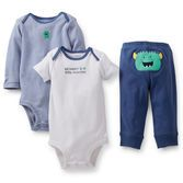 Busy baby boys on the go will love the soft cotton and cute monster on this 3-piece set. Two bodysuits and our essential pants pair up to keep him comfy during playtime or anytime. So cute, it's scary!