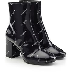 Balenciaga Printed Patent Leather Ankle Boots (248.305 HUF) ❤ liked on Polyvore featuring shoes, boots, ankle booties, heels, black, block heel bootie, black heeled boots, black booties, block heel booties and ankle boots
