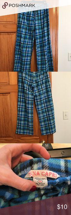 Plaid pajama pants Blue/green plaid pajama pants. Fuzzy and warm! Nina Capri Pajamas Pajama Bottoms