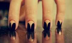 Black beige nails