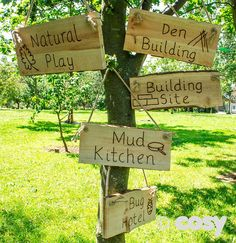 OUTDOOR AREA PLANK SIGNS (5PK) - Rustic Writing - Literacy - Early Years - Cosy Direct