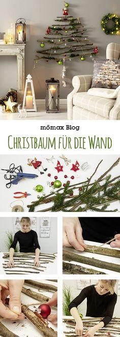 Weihnachtsbaum  für die Wand. Ideal für kleine Wohnungen oder wenn man Haustiere hat! Ganz einfach selber machen!