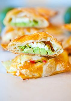 Avocado, Cream Cheese and Salsa-Stuffed Puff Pastries. This would make a nice snack or side dish.maybe try greek yogurt instead of cream cheese? Think Food, I Love Food, Good Food, Yummy Food, Tasty, Great Recipes, Favorite Recipes, Amazing Recipes, Recipe Ideas