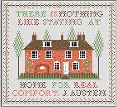 Jane Austen Home Sampler Cross Stitch Cross Stitch House, Cross Stitch Samplers, Cross Stitching, Cross Stitch Embroidery, Embroidery Patterns, Cross Stitch Patterns, Vintage Embroidery, Jane Austen, Blackbird Designs