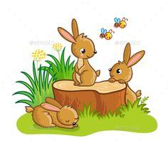 Rabbits Sitting Around the Stump #Rabbits, #Sitting, #Stump Jednoduché Kresby, Umění Pro Děti, Panenky, Skeče, Roztomilé Ilustrace