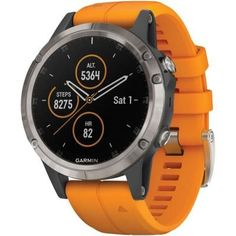 Garmin fenix 5 Plus Smartwatch (Sapphire Titanium with Solar Flare Orange Band), Multicolor Sport Watches, Watches For Men, Popular Watches, Men's Watches, Jewelry Watches, Emporio Armani, Orange Gris, Orange Band, Armani Exchange