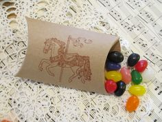 Carousel Horse Kraft Paper Party Favor Small Pillow Boxes- Set of 10. $10.00, via Etsy.