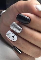 # for # gel nails # ideas # amazing 47 amazing gel nail art ideas 2019 47 amazing . - Nail ideas - Derek # for # gel nails # ideas # amazing 47 amazing gel nail art ideas 2019 47 amazing . Cute Acrylic Nails, Acrylic Nail Designs, Cute Nails, Pretty Nails, My Nails, Heart Nail Designs, How To Gel Nails, Silver Nail Designs, Basic Nails