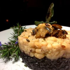 Forbidden Black Rice & Herbed White Beans with Seared Mushrooms, Fried Sage & Black Truffle Oil