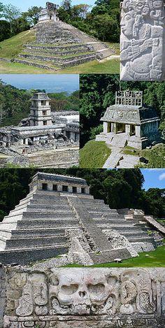 De arriba hacia abajo e izquierda hacia derecha El Templo de La Cruz, Pacal El Grande, El Palacio, El Templo del Sol, El Templo de Las Inscripciones, bajorrelieve del Templo de La Calavera