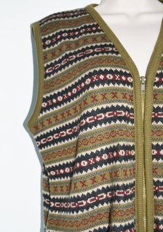 New Listing! Vintage Aztec Print Sweater Vest Zip up by founditinatlanta, $25.00
