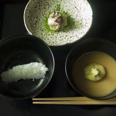 #chakaiseki / #茶懐石  秋の茶事のお料理一文字の飯に汁そして向付が供されます  次回の茶事は初の亭主役なのでお料理も考えないとうーむ