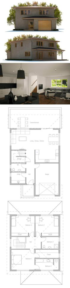 Small House Plans, Home Plans, Floor Plans Narrow House Plans, Duplex House Plans, New House Plans, Dream House Plans, Modern House Plans, House Floor Plans, Planer Layout, Small Modern Home, Modern Bungalow