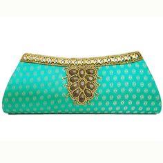 Turquoise vert de soirée perles d'embrayage brocart tissu dames de mariée sac à main