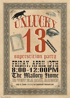 Friday the 13th Superstition Party by bnute on Etsy, $16.00